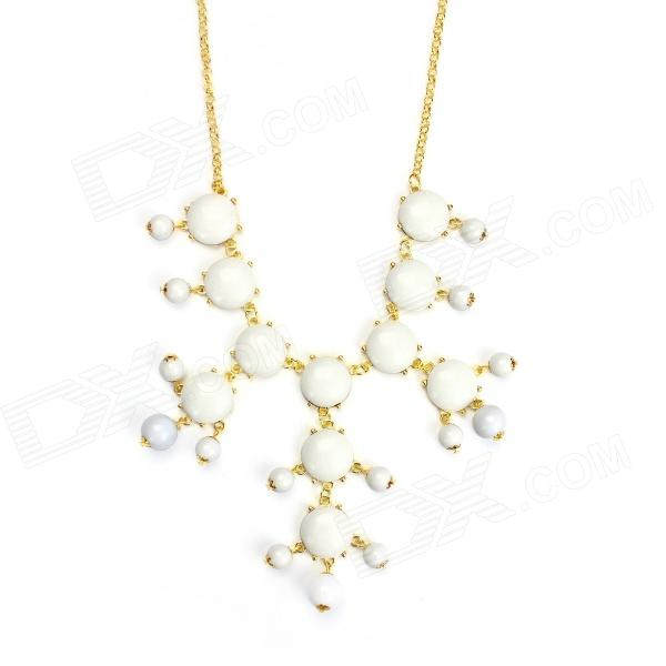 eQute POTW1 Fashionable Elegant Gold Plated White Bubble Collar Necklace - White + Golden shiying d05454 bow wreath style zinc alloy stud earrings for women white golden 2 pcs