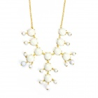eQute POTW1 Fashionable Elegant Gold Plated White Bubble Collar Necklace - White + Golden