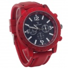 Supper Speed V0100B Silicone Wristband + Six Stitch Stopwatch Men's Quartz Analog Wrist Watch - Red
