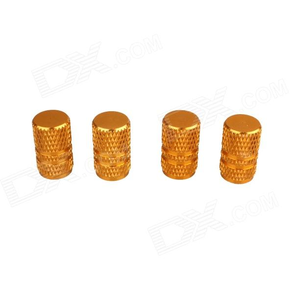 Universal Fashionable Aluminum Alloy Car Tire Valve Caps - Golden (4 PCS) mz short universal aluminum alloy motorcycle handlebar ends caps plugs golden pair