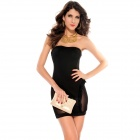 LC2762-2 Stylish Sexy Ruffle Mesh Hollow out Women's Strapless Dress - Black (Free Size)