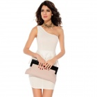 Woman's Fashion Unique One-shoulder Double-layer Dress - White (Size L)
