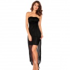 Woman's Noble Fashion Strapless Dress with Draped Top Sheet - Black (Free Size)