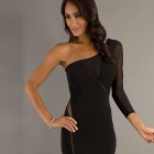 LC2853-2 Woman Sexy Single Sleeve One Shoulder Dress - Black (Free Size)