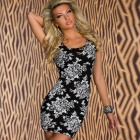 Woman's Fashion Fitted Stretch Mini Dress with Flower Print - Black + White (Free Size)