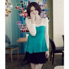 YLY-C3-2D-6877 Elegant Fashionable Falbala Detailed Scoopneck Top Shirt - Green + Off-white (Size-L)