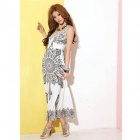 "YLY-DXH406D-8114# Stylish ""V"" Neck Empire Waist Printing Pattern Maxi Dress - White + Black"