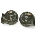 Auto Parts Water Resistant Car Electric Horn Speaker - Army Green (Pair / DC 12V)