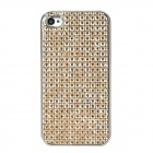 Shiny Rhinestone Protective Plastic Back Case for Iphone 4 / 4S - Light Yellow