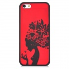 Pretty Girl with Flowers Style Protective Plastic Back Case for Iphone 5 - Red + Black