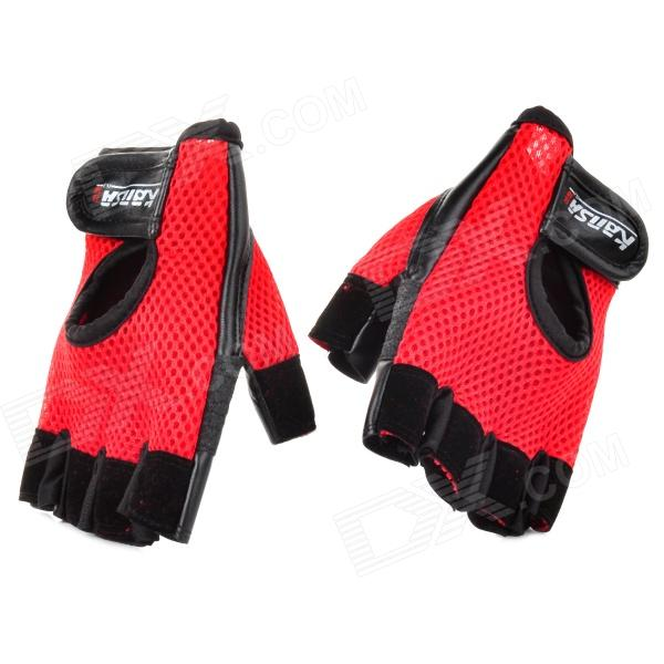 KS1123 Protective Outdoor Sports Exercise & Fitness Half-Finger Mesh Cloth Gloves - Red + Black sw3069 outdoor tactic sports exercise protective goggles black