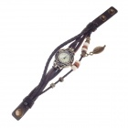 Tingyi Stylish Retro PU Leather + Rope Band Quartz Watch for Women - Brown + Bronze (1 x LR626)