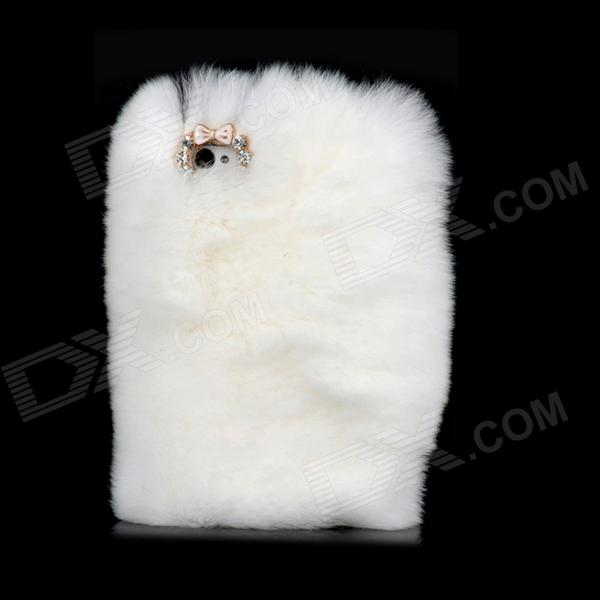 Unique Protective Plastic Back Case w/ Fluffy Rex Rabbit Fur for Iphone 4S / 4 - White sy c4 protective plastic back case w dual sim card single pass for iphone 4 4s black white