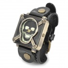 JINGYI Skull Style PU Band Analog Quartz Wrist Watch for Women - Black + Bronze