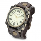 JINGYI PU Band Analog Quartz Wrist Watch for Men - Brown + Bronze