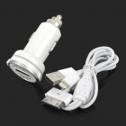 USB Car Cigarette Lighter Charger w/ USB to Apple 30 Pin / 8 Pin Lightning Cable - White
