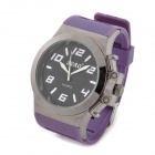 SBAO S296 Alloys Plating Rubber Band Analog Quartz Wrist Watch for Men - Purple + Black