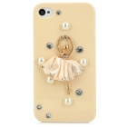 3D Ballet Girl Decorative Plastic Back Case w/ Pearl / Rhinestone for Iphone 4 / 4S - Papaya Whip