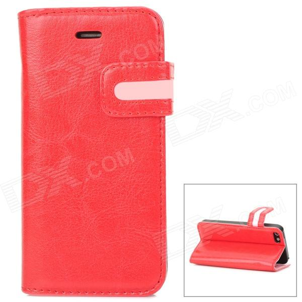 Protective PU Leather Case w/ Card Holder Slot for Iphone 5 - Red + Pink stylish protective pu leather case w card holder slot for iphone 5 deep pink