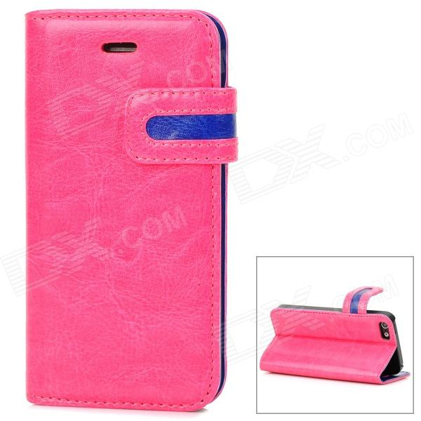 Protective PU Leather Case w/ Card Holder Slot for Iphone 5 - Deep Pink + Blue stylish protective pu leather case w card holder slot for iphone 5 deep pink