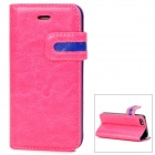 Protective PU Leather Case w/ Card Holder Slot for Iphone 5 - Deep Pink + Blue