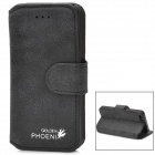 Protective Matte Flip-open PU Leather Case for Iphone 5 - Black