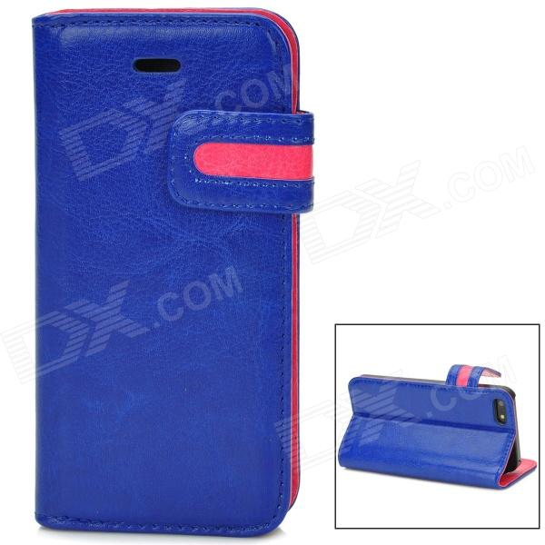 Protective PU Leather Flip Open Case w/ Card Slot for Iphone 5 - Blue + Deep Pink protective flip open pc pu leather case w holder card slot for iphone 5 5s black