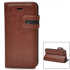 Protective PU Leather Case for Iphone 5 - Brown + Black