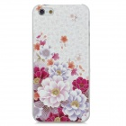 Relief Flowers Pattern Protective Plastic Back Case for Iphone 5 - White + Red + Purple