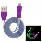 USB to 8-Pin Lightning Data/Charging Cable w/ Smiley Face RGB Light for iPhone 5 / iPad 4 - Purple