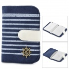 Fashion Stripe Style Canvas Card Holder - Blue + White
