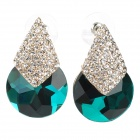 KCCHSTAR Fashion 18K Gold  Rhinestone Crystal Earrings - Golden + Green (Pair)