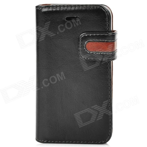 Protective PU Leather Case w/ Card Holder Slot for Iphone 4 - Black + Brown