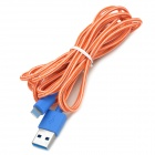 USB-3.0-Stecker auf Blitz Male Data Sync-& Ladekabel Geflochtene 8Pol - Orange + Blau (300cm)