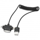 USB Male to Apple 30pin Male / 8pin Lighting Male / Micro USB Male Elastic Data Cable - Black