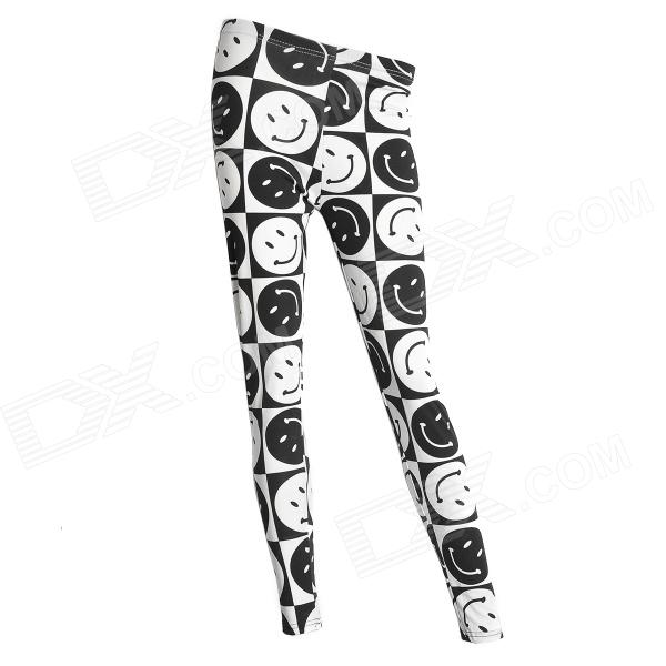 Smiling Face Pattern Ninth Pants Leggings - Black + White