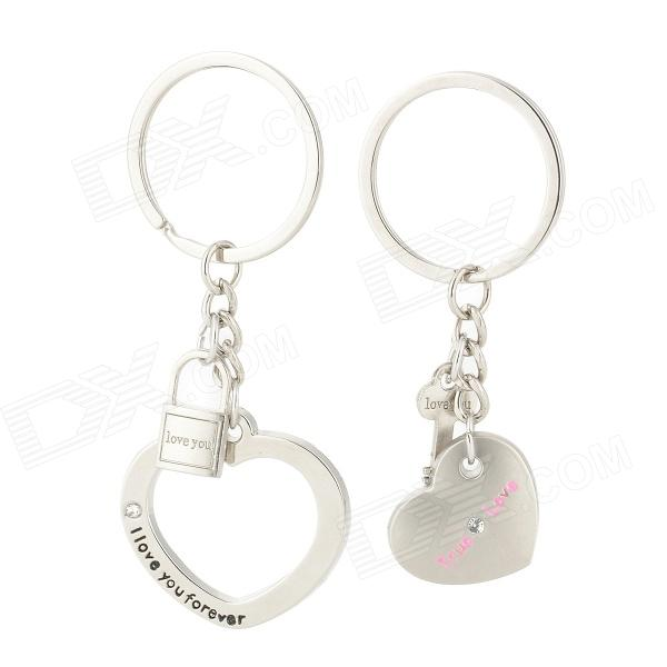 Sweet Love Heart Shaped Zinc Alloy Couple Keychain - Silver (Pair) zinc alloy apple shaped mini photo frame keychain silver black