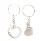 Sweet Love Heart Shaped Zinc Alloy Couple Keychain - Silver (Pair)