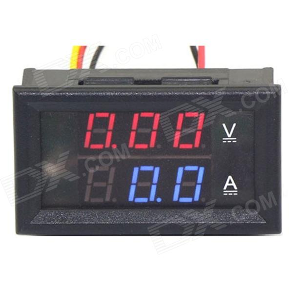 "0,28 ""LED 3-Digital Dual-display amperímetro e voltímetro - Black (Red Volt / Amp Azul / 0 ~ 100V / 5A)"