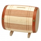 Creative Barrel Style Poplar Money Saving Box - Beige + Brown
