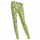 Bows Pattern Fashionable Women's Elastic Leggings - Yellow + Blue