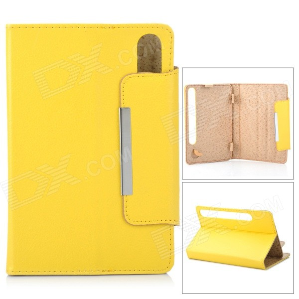 "Two Section Folding Lichee Pattern PU Leather Case for 7"" Tablet PC - Yellow"