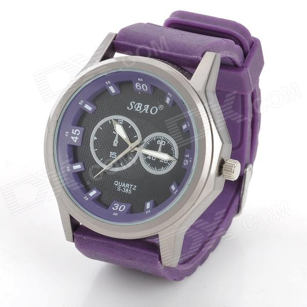 SBAO S-385 Rubber Band Analog Quartz Wrist Watch for Men - Purple + Black new replacement part for samsung galaxy s advance gt i9070 i9070 lcd screen and touch digitizer with frame 1pc lot free shipping