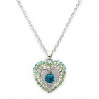 Madou Princess  Elegant Shinning Heart Shape Crystal Pendant Necklace - Blue + Green + White