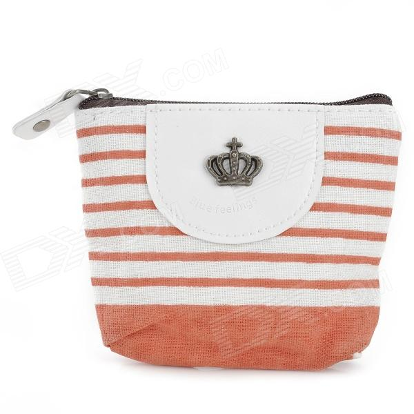 Navy Style Stylish Cloth Wallet - Orange + White