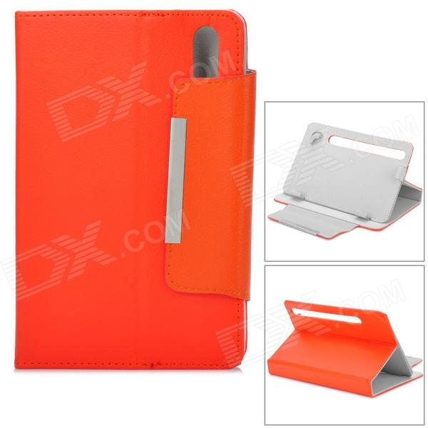 """Two Section Folding Lichee Pattern PU Leather Case for 7"""" Tablet PC - Orange"""
