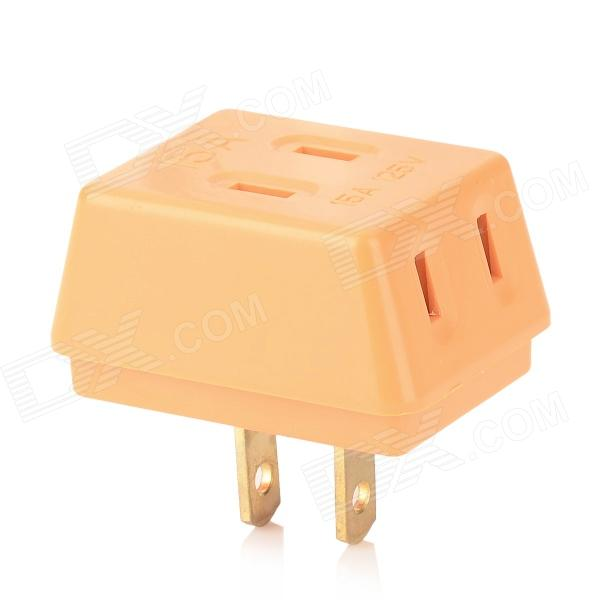 Mini 3-in-1 Portable Power Adapter Converter Wall Socket - Orange + Golden (US Plug)