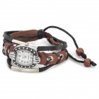 Retro Cow Split Leder Band Elliptical Dial Analog Armband Armbanduhr - Brown + Bronze + Silber