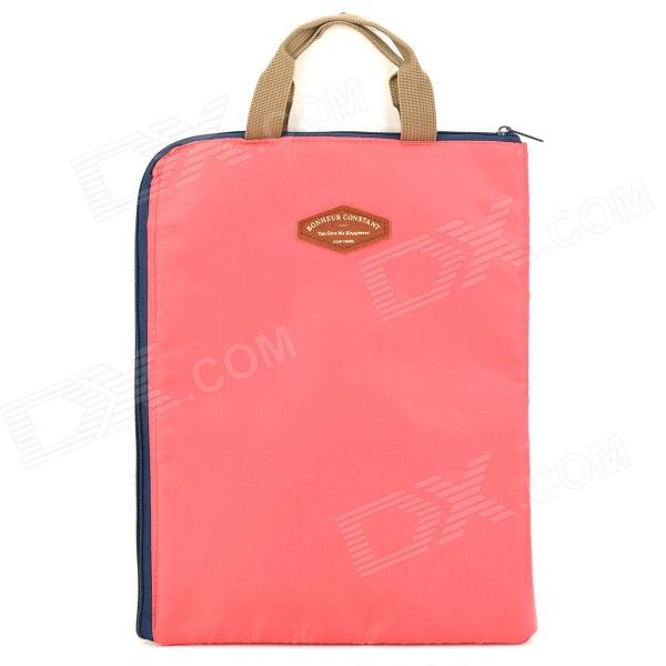 Portable Nylon Document Carrying Pouch Bag - Pale Violet Red + Deep Blue