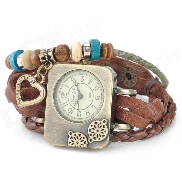 Retro Cow Split Leather Band Rectangle Dial Analog Bracelet Wrist Watch - Brown + Bronze (1 x AG4) fashion cupid ornament split leather bracelet coffee brown multi color